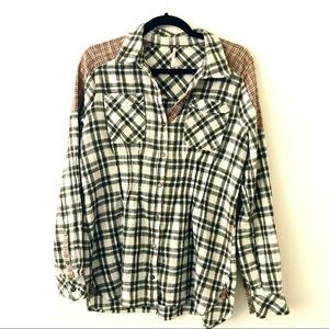 FREE PEOPLE Green and White Plaid Flannel